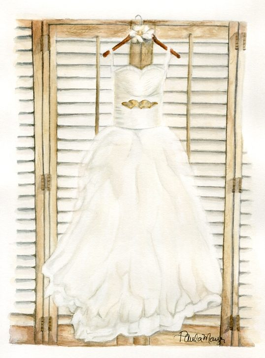 wedding dress watercolor painting