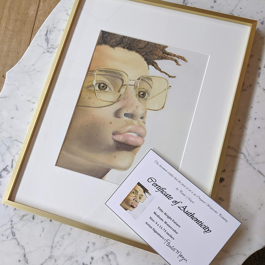 Watercolor portrait with certificate of authenticity