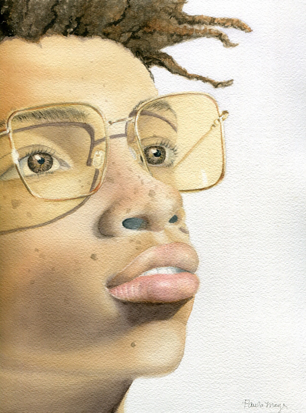 Watercolor portrait painting on exhibit
