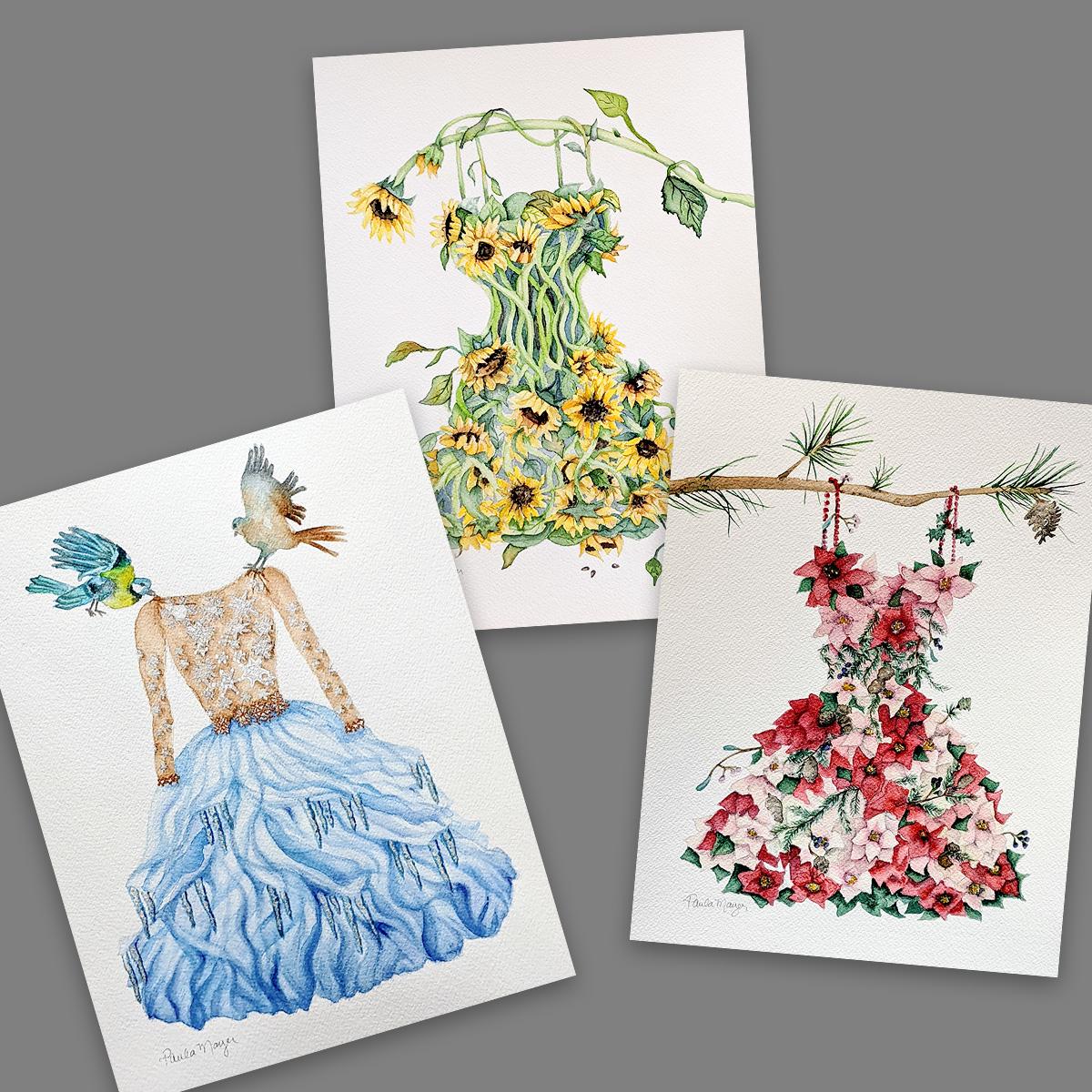 Watercolor Nature Art Dresses